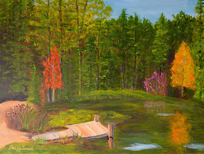 Pond In The Blue Ridge Poster by Sally Jones