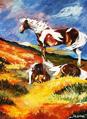 Poster featuring the painting Ponies At Sunset by Al Brown