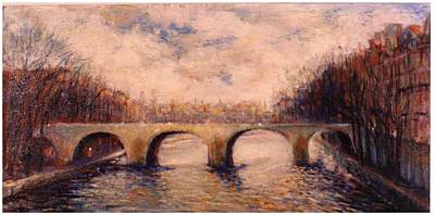 Poster featuring the painting Pont Sur La Seine by Walter Casaravilla