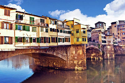 Ponte Vecchio And Arno River, Florence Poster by Miva Stock