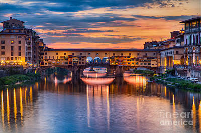 Ponte Vecchio At Sunset Poster by Michele Steffey