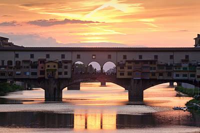 Ponte Vecchio Bridge At Sunset, Arno Poster
