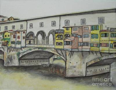 Poster featuring the painting Ponte Vecchio Florence Italy by Malinda  Prudhomme