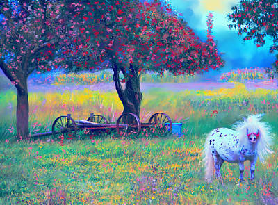 Pony In Pasture Poster