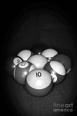 Pool Balls In Black And White Poster by Paul Ward