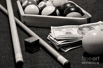 Pool - The Hustler -  Black And White Poster by Paul Ward