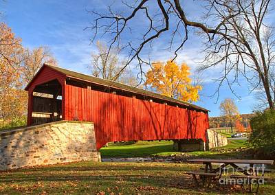 Poole Forge Covered Bridge - Lancaster County Poster by Adam Jewell
