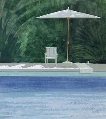 Poolside, 1994 Acrylic On Paper Poster by Lincoln Seligman