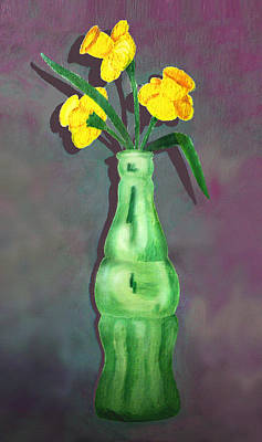 Pop Bottle Daffodil Poster by Ginny Schmidt