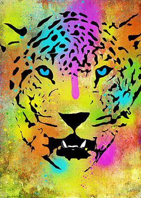 Pop Tiger - Colorful Paint Splatters And Drips - Stained Canvas Art Prints Poster by Denis Marsili