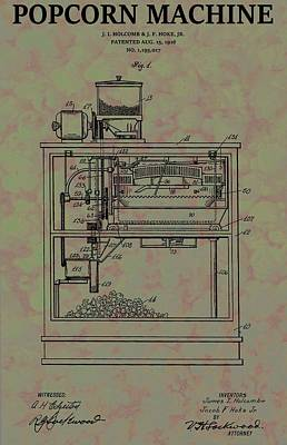 Popcorn Machine Patent Poster by Dan Sproul