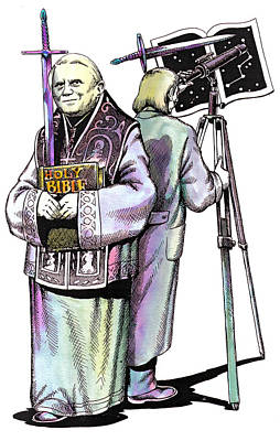 Pope Benedict Portrait And Astronomer Poster by Magdalena Walulik