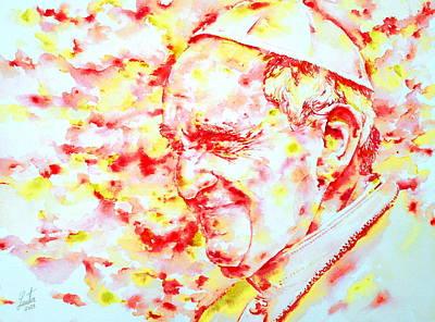 Pope Francis Profile -watercolor Portrait Poster by Fabrizio Cassetta