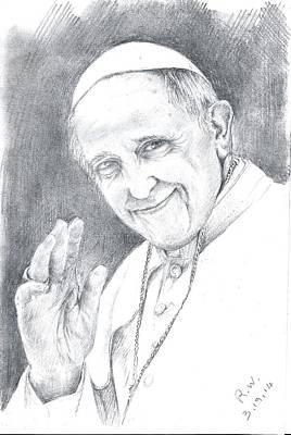 Poster featuring the drawing Pope Francis by Rose Wang