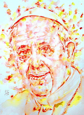 Pope Francis Smiling -watercolor Portrait Poster