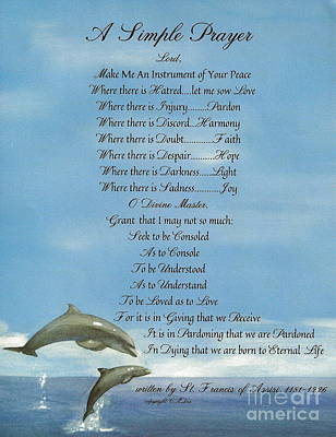 Pope Francis St. Francis Simple Prayer Dolphins Tking A Leap Of Faith Poster