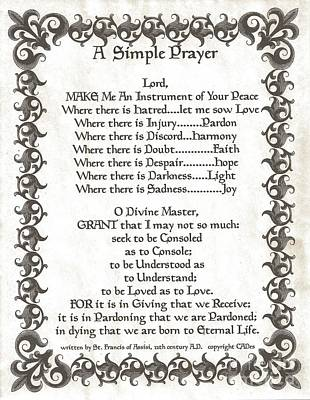 Pope Francis St. Francis Simple Prayer Fleur Poster