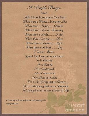 Pope Francis St. Francis Simple Prayer Organic Peace Leaves Poster