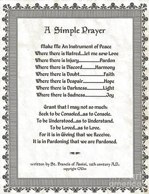 Pope Francis St. Francis Simple Prayer Peace On Parchment Poster