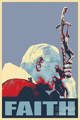 Pope John Paul II Poster by Jean luc Comperat