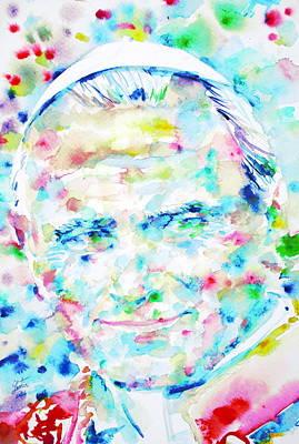 Pope John Paul II - Watercolor Portrait Poster