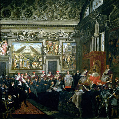 Pope Paul V 1522-1621 With An Audience, 1620 Oil On Canvas Poster