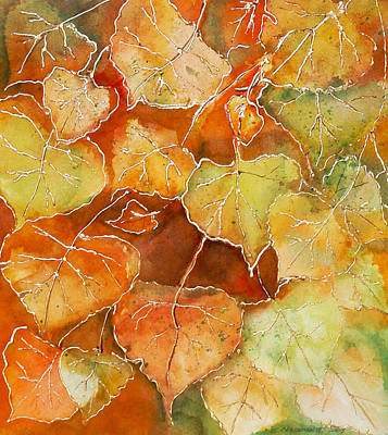 Poster featuring the painting Poplar Leaves by Susan Crossman Buscho