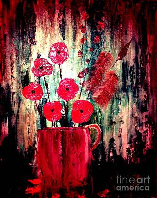 Poster featuring the painting Poppie Mix by Denise Tomasura