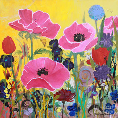 Poster featuring the painting Poppies And Time Traveler by Robin Maria Pedrero