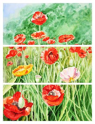 Poppies Collage II Poster by Irina Sztukowski