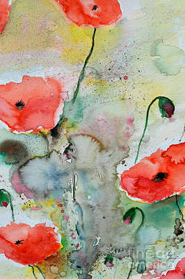 Poppies - Flower Painting Poster by Ismeta Gruenwald