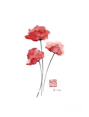 Poppies Flowers Orange Red Poppy Flower Watercolor Painting Ink Poster