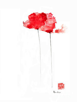 Poppies Flowers Orange Red Poppy Flower Watercolor Painting Poster