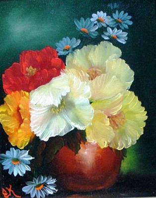 Poppies In A Copper Pot Poster by Fineartist Ellen
