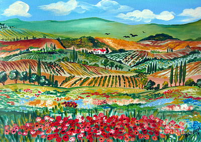 Poppies In Chianti Tuscany Poster