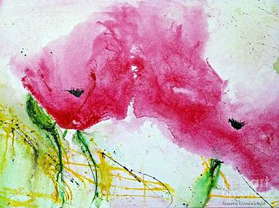 Poppies In Summer - Flower Painting Poster by Ismeta Gruenwald
