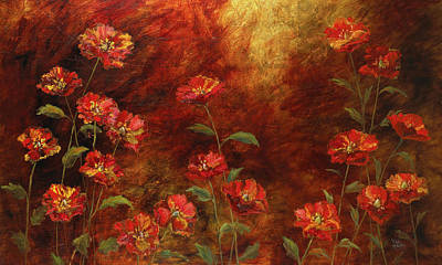 Poster featuring the painting Poppies In The Garden by Vic  Mastis