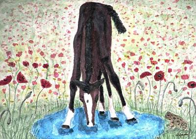 Poster featuring the painting Poppies N  Puddles by Angela Davies