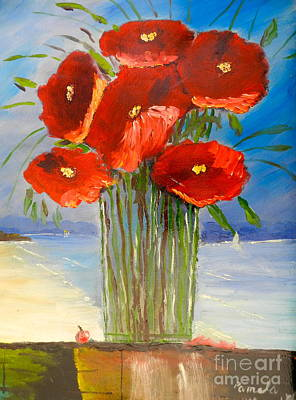Poster featuring the painting Poppies On The Window Ledge by Pamela  Meredith