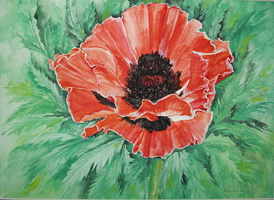 Poster featuring the painting Poppy by Ellen Canfield