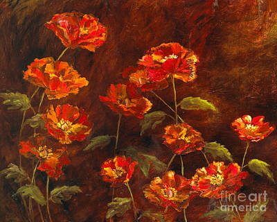 Poppy Garden With Gold Leaf By Vic Mastis Poster