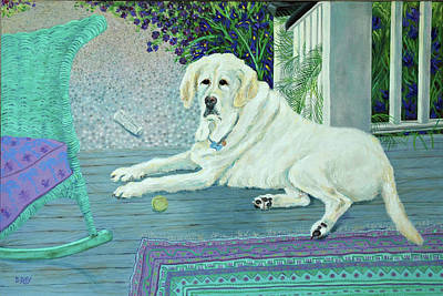 Poster featuring the painting Porch Pooch by Dwain Ray