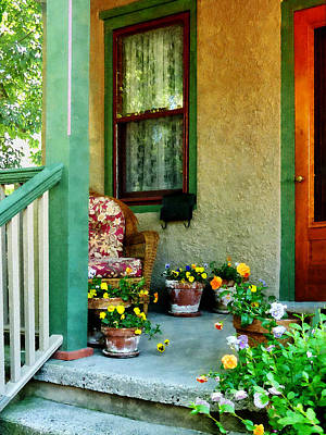 Porch With Padded Chair Poster by Susan Savad