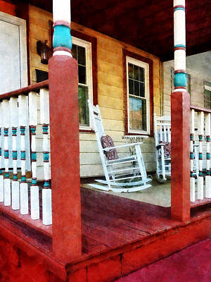 Porch With Red White And Blue Railing Poster by Susan Savad