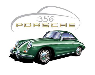 Porsche 356 Coupe Green  Poster