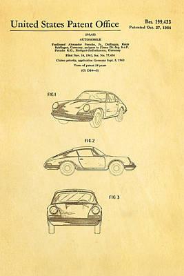 Porsche 911 Car Patent Art 1964 Poster by Ian Monk