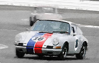 Porsche 911 Race In Monterey Watercolor Poster
