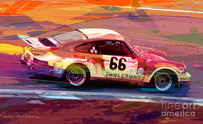 Porsche 911 Racing Poster by David Lloyd Glover