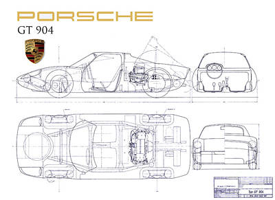 Porsche Gt 904 Blueprint Poster
