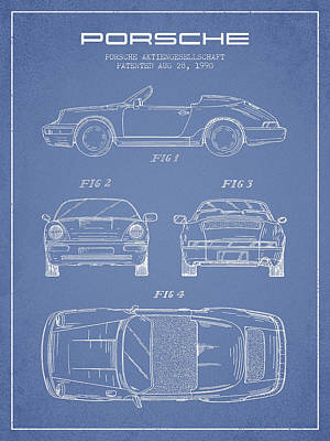 Porsche Patent From 1990 - Light Blue Poster by Aged Pixel